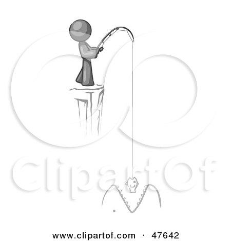 Royalty-Free (RF) Clipart Illustration of a Gray Design Mascot Man Fishing On A Cliff by Leo Blanchette
