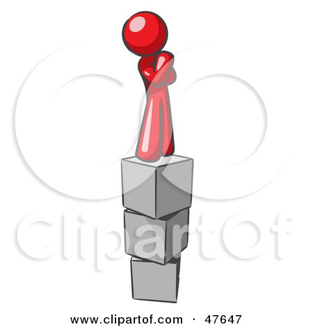 Royalty-Free (RF) Clipart Illustration of a Red Design Mascot Man Thinking And Standing On Blocks by Leo Blanchette