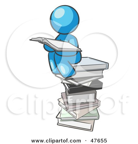 Royalty-Free (RF) Clipart Illustration of a Blue Design Mascot Man Reading On A Stack Of Books by Leo Blanchette