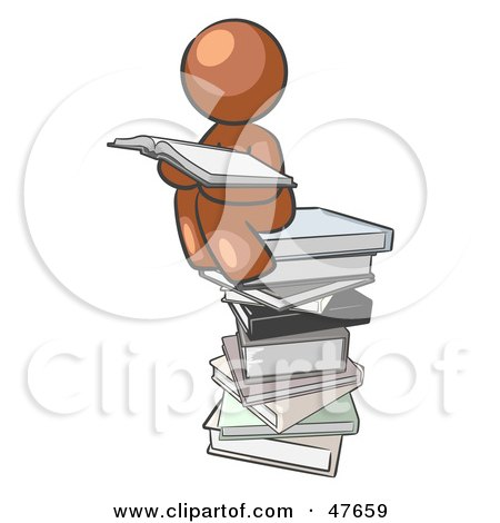 Royalty-Free (RF) Clipart Illustration of a Brown Design Mascot Man Reading On A Stack Of Books by Leo Blanchette