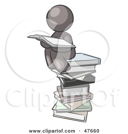 Royalty-Free (RF) Clipart Illustration of a Gray Design Mascot Man Reading On A Stack Of Books by Leo Blanchette