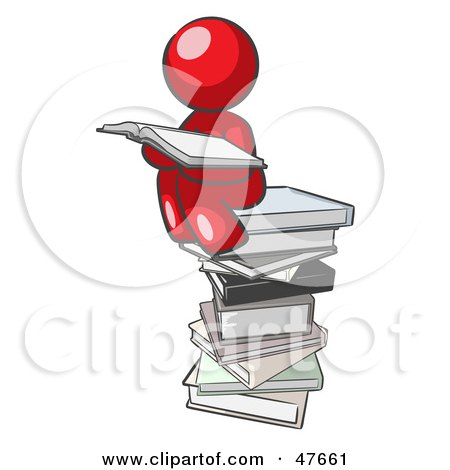 Royalty-Free (RF) Clipart Illustration of a Red Design Mascot Man Reading On A Stack Of Books by Leo Blanchette