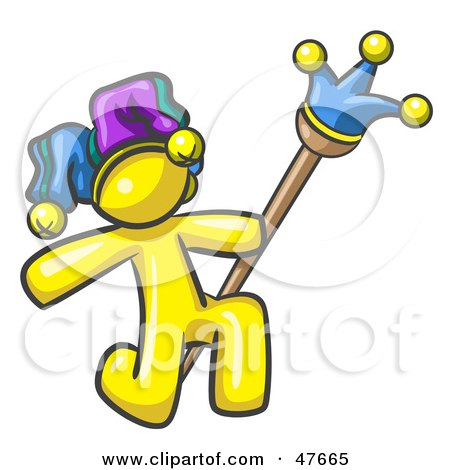 Royalty-Free (RF) Clipart Illustration of a Yellow Design Mascot Man Court Jester Kneeling by Leo Blanchette