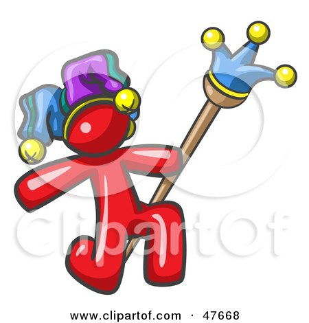 Royalty-Free (RF) Clipart Illustration of a Red Design Mascot Man Court Jester Kneeling by Leo Blanchette