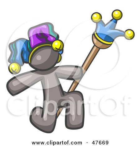 Royalty-Free (RF) Clipart Illustration of a Gray Design Mascot Man Court Jester Kneeling by Leo Blanchette