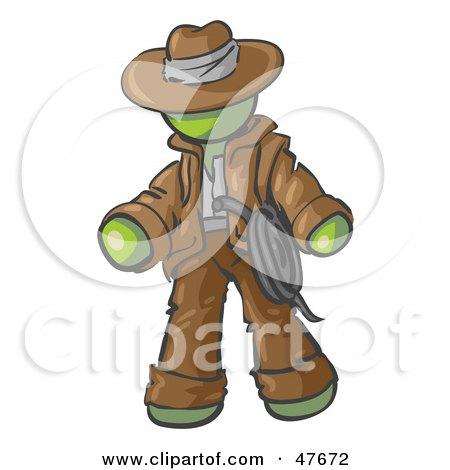 Royalty-Free (RF) Clipart Illustration of a Green Design Mascot Man Cowboy Adventurer by Leo Blanchette