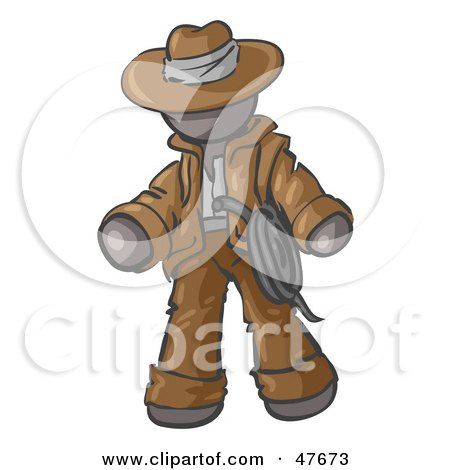 Royalty-Free (RF) Clipart Illustration of a Gray Design Mascot Man Cowboy Adventurer by Leo Blanchette