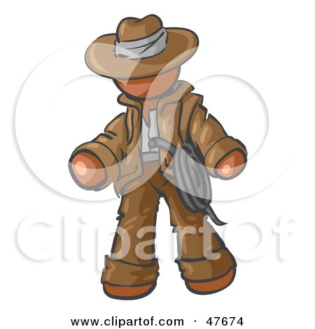 Royalty-Free (RF) Clipart Illustration of a Brown Design Mascot Man Cowboy Adventurer by Leo Blanchette