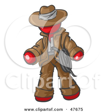 Royalty-Free (RF) Clipart Illustration of a Red Design Mascot Man Cowboy Adventurer by Leo Blanchette