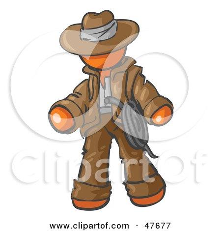 Royalty-Free (RF) Clipart Illustration of an Orange Design Mascot Man Cowboy Adventurer by Leo Blanchette