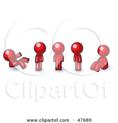 Royalty-Free (RF) Clipart Illustration of a Red Design Mascot Man In Different Poses by Leo Blanchette