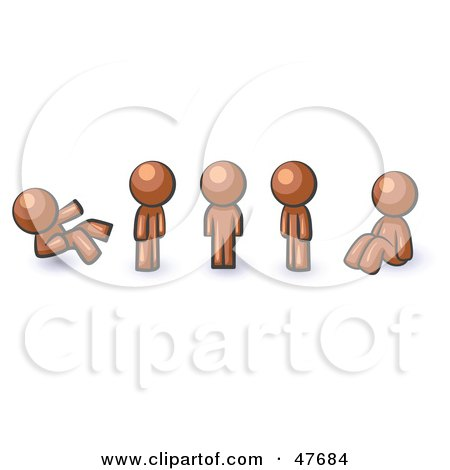 Royalty-Free (RF) Clipart Illustration of a Blue Design Mascot Man In Different Poses by Leo Blanchette