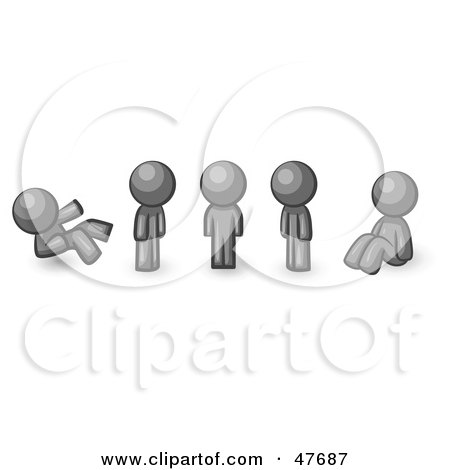 Royalty-Free (RF) Clipart Illustration of a Gray Design Mascot Man In Different Poses by Leo Blanchette