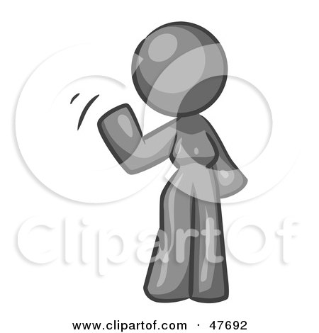Royalty-Free (RF) Clipart Illustration of a Gray Design Mascot Woman Waving by Leo Blanchette