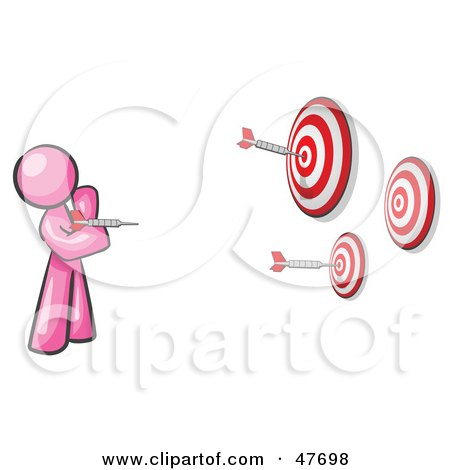Royalty-Free (RF) Clipart Illustration of a Pink Design Mascot Man Throwing Darts At Targets by Leo Blanchette