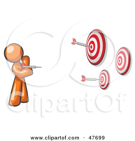 Royalty-Free (RF) Clipart Illustration of an Orange Design Mascot Man Throwing Darts At Targets by Leo Blanchette