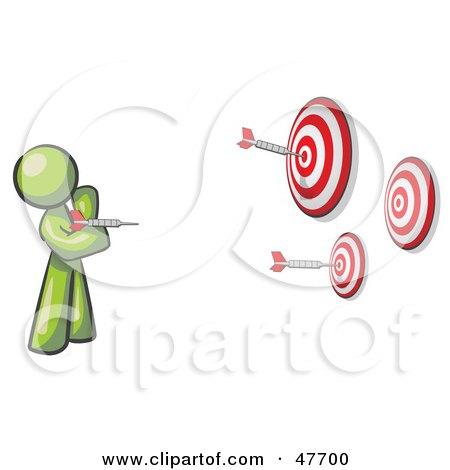 Royalty-Free (RF) Clipart Illustration of a Green Design Mascot Man Throwing Darts At Targets by Leo Blanchette