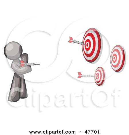 Royalty-Free (RF) Clipart Illustration of a Gray Design Mascot Man Throwing Darts At Targets by Leo Blanchette