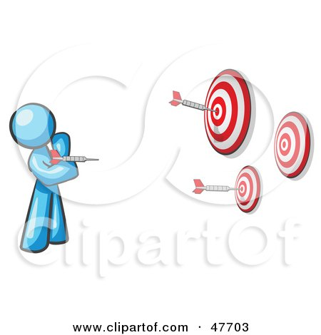 Royalty-Free (RF) Clipart Illustration of a Blue Design Mascot Man Throwing Darts At Targets by Leo Blanchette