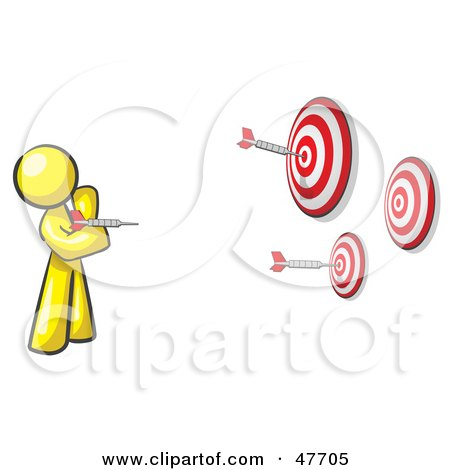 Royalty-Free (RF) Clipart Illustration of a Yellow Design Mascot Man Throwing Darts At Targets by Leo Blanchette