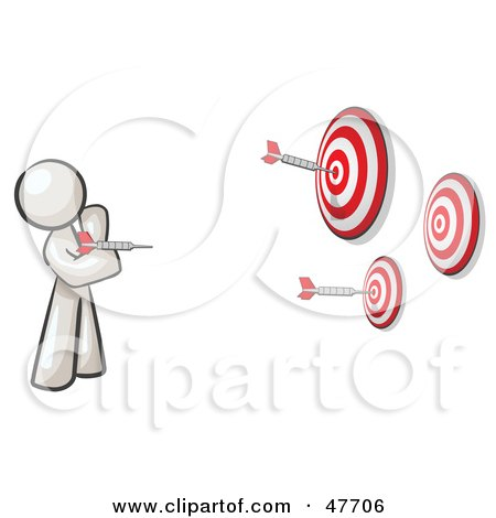 Royalty-Free (RF) Clipart Illustration of a White Design Mascot Man Throwing Darts At Targets by Leo Blanchette