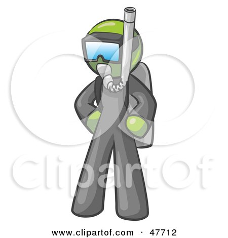 Royalty-Free (RF) Clipart Illustration of a Green Design Mascot Man In Scuba Gear by Leo Blanchette