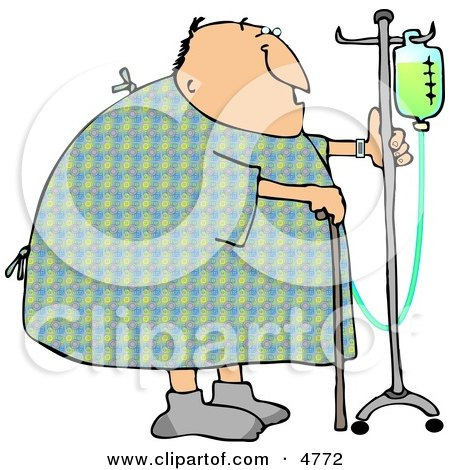 Recovering Male Hospital Patient Walking Around with a Cane and an Intravenous Injection Drip Line Stroller Clipart by Dennis Cox
