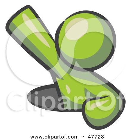 Royalty-Free (RF) Clipart Illustration of a Green Design Mascot Man Climbing Out Of A Man Hole by Leo Blanchette