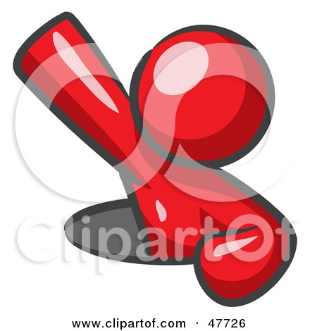 Royalty-Free (RF) Clipart Illustration of a Red Design Mascot Man Climbing Out Of A Man Hole by Leo Blanchette