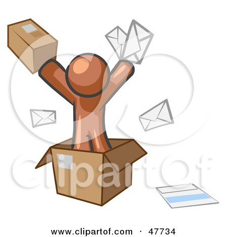 Royalty-Free (RF) Clipart Illustration of a Brown Design Mascot Man Going Postal With Parcels And Mail by Leo Blanchette