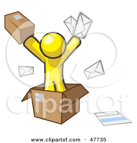 Royalty-Free (RF) Clipart Illustration of a Yellow Design Mascot Man Going Postal With Parcels And Mail by Leo Blanchette