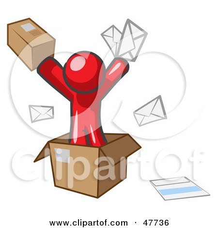 Red Design Mascot Man Going Postal With Parcels And Mail Posters, Art Prints