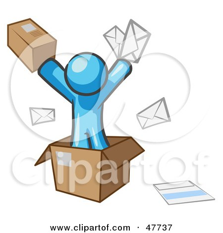 Royalty-Free (RF) Clipart Illustration of a Blue Design Mascot Man Going Postal With Parcels And Mail by Leo Blanchette