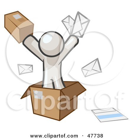 Royalty-Free (RF) Clipart Illustration of a White Design Mascot Man Going Postal With Parcels And Mail by Leo Blanchette