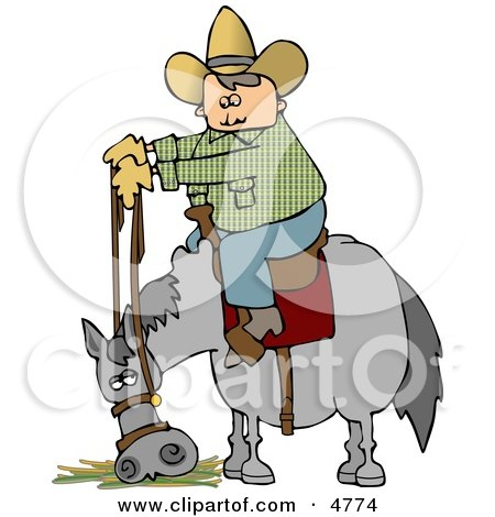 Cowboy Sitting On Horse Eating Hay Clipart by djart