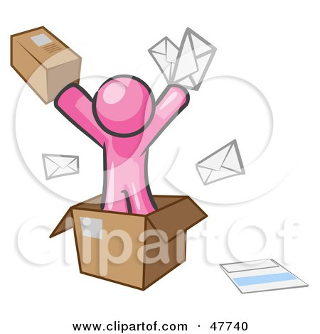 Royalty-Free (RF) Clipart Illustration of a Pink Design Mascot Man Going Postal With Parcels And Mail by Leo Blanchette