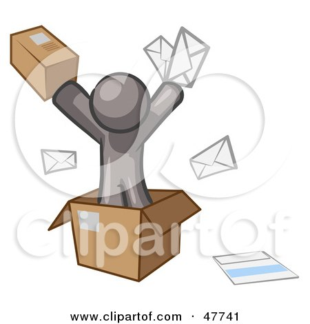 Royalty-Free (RF) Clipart Illustration of a Gray Design Mascot Man Going Postal With Parcels And Mail by Leo Blanchette
