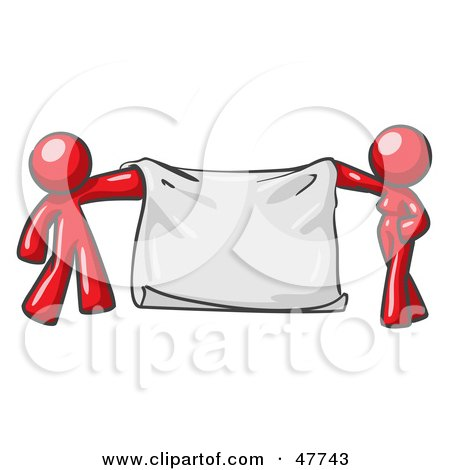 Royalty-Free (RF) Clipart Illustration of a Red Design Mascot Man And Woman Holding A Blank Banner by Leo Blanchette