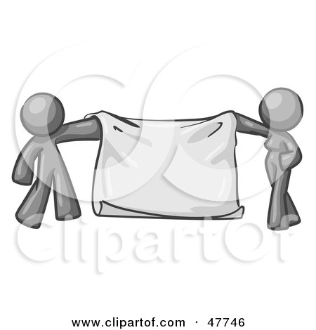 Royalty-Free (RF) Clipart Illustration of a Gray Design Mascot Man And Woman Holding A Blank Banner by Leo Blanchette
