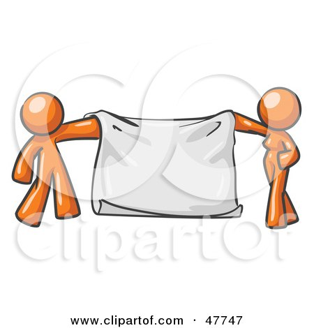 Royalty-Free (RF) Clipart Illustration of an Orange Design Mascot Man And Woman Holding A Blank Banner by Leo Blanchette