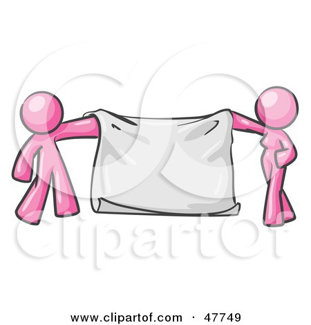 Royalty-Free (RF) Clipart Illustration of a Pink Design Mascot Man And Woman Holding A Blank Banner by Leo Blanchette