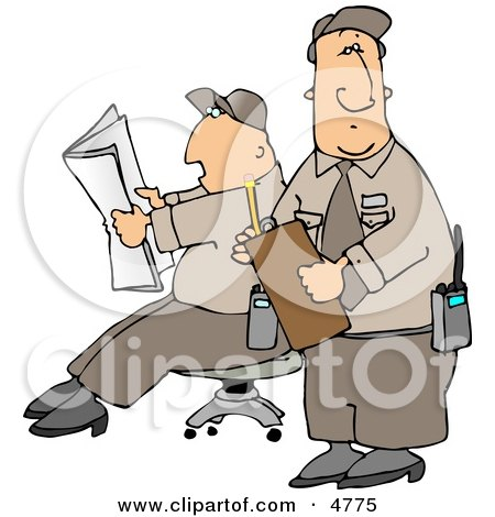 Two Male Security Guards Clipart by djart