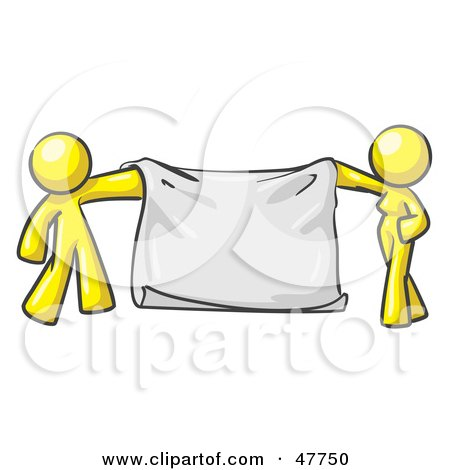 Royalty-Free (RF) Clipart Illustration of a Yellow Design Mascot Man And Woman Holding A Blank Banner by Leo Blanchette