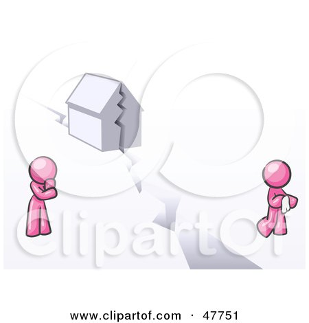 Royalty-Free (RF) Clipart Illustration of a Pink Design Mascot Man And Woman With A House Divided by Leo Blanchette