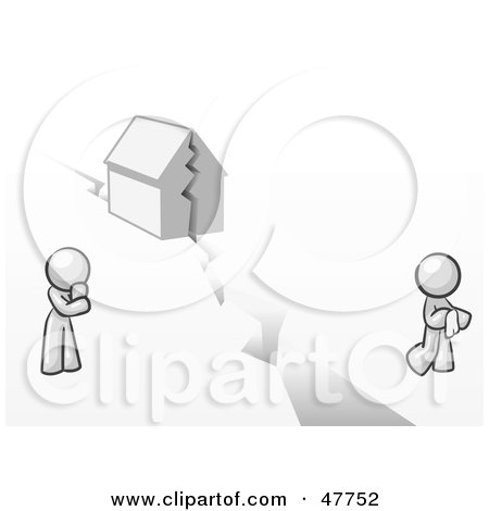 Royalty-Free (RF) Clipart Illustration of a White Design Mascot Man And Woman With A House Divided by Leo Blanchette