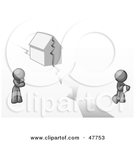 Royalty-Free (RF) Clipart Illustration of a Gray Design Mascot Man And Woman With A House Divided by Leo Blanchette