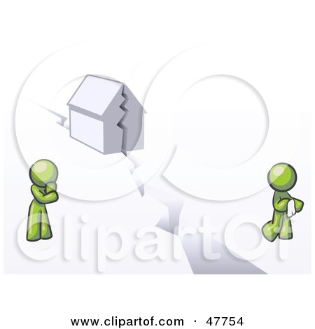 Royalty-Free (RF) Clipart Illustration of a Green Design Mascot Man And Woman With A House Divided by Leo Blanchette