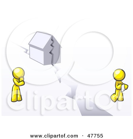 Royalty-Free (RF) Clipart Illustration of a Yellow Design Mascot Man And Woman With A House Divided by Leo Blanchette