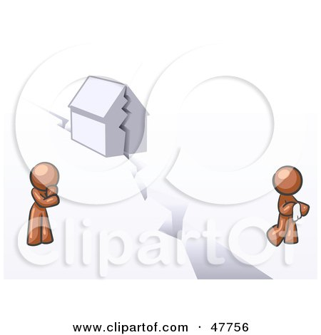Royalty-Free (RF) Clipart Illustration of a Brown Design Mascot Man And Woman With A House Divided by Leo Blanchette
