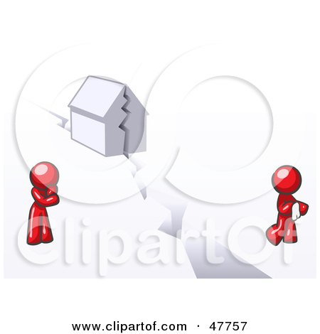Royalty-Free (RF) Clipart Illustration of a Red Design Mascot Man And Woman With A House Divided by Leo Blanchette